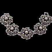 Ornate Cini Sterling Baroque Silver Bracelet Vintage