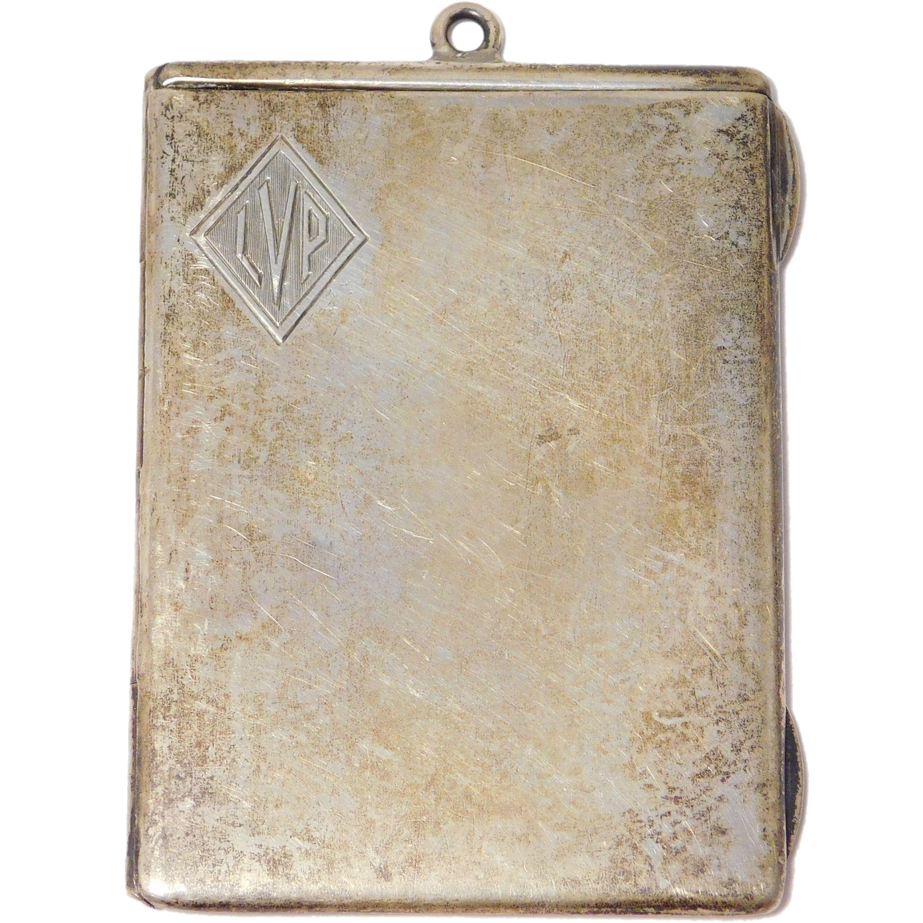 Sterling Silver Art Deco Oversize Double Locket Pendant Dated 1918