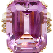 Emerald Cut 14K Amethyst And Diamond Ring 20 Plus Carats Estate