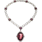 Art Deco Czech Style Amethyst Glass Filigree Necklace