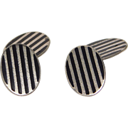 Sterling Art Deco Striped Enamel Cufflinks F&B Classy