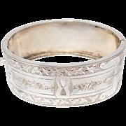 Victorian Sterling Engraved Wide Bangle Bracelet