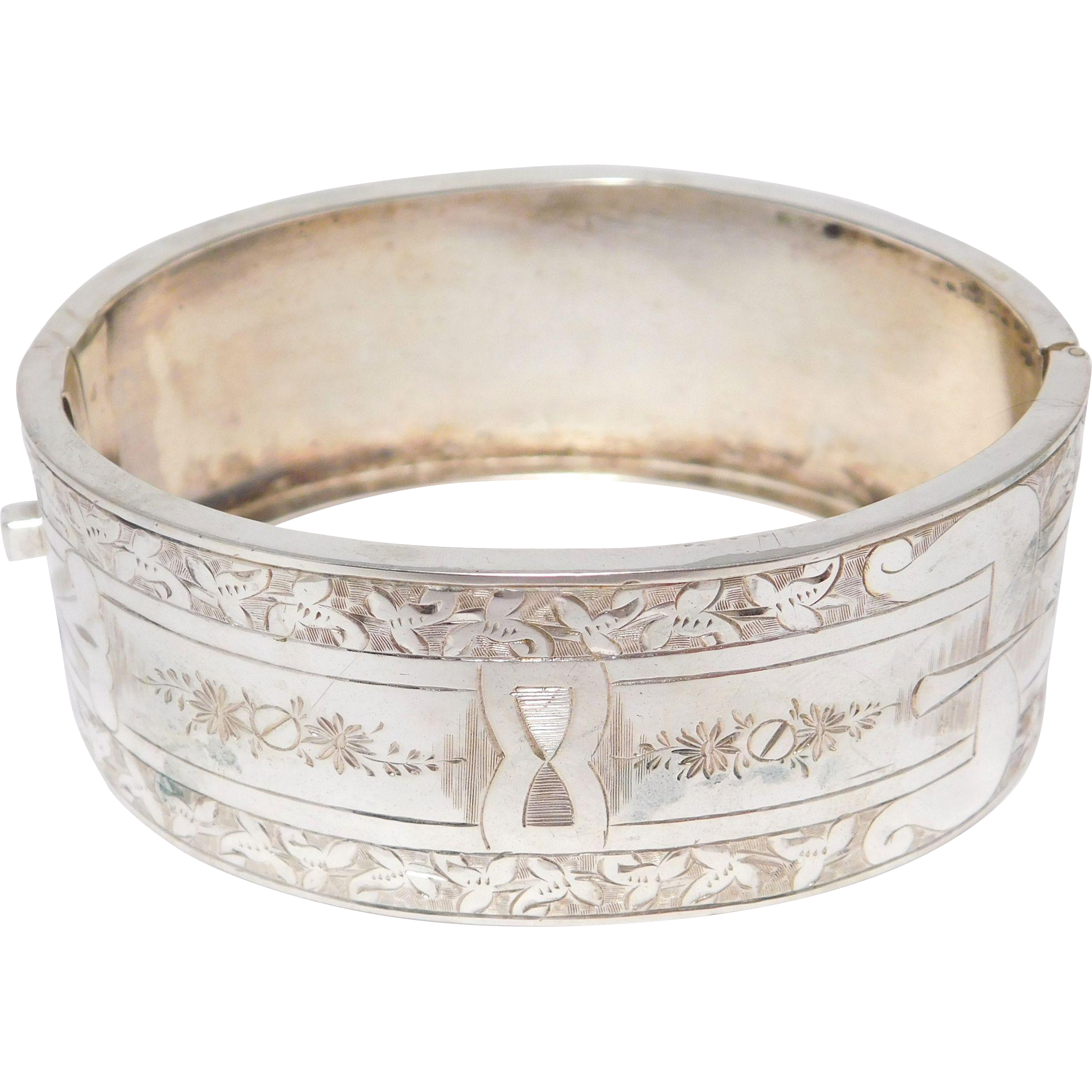 Victorian Sterling Engraved Wide Bangle Bracelet