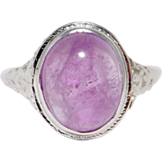 14K Edwardian Filigree Ring Cabochon Amethyst