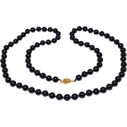 8mm Black Onyx Beads Necklace 14K Chinese Clasp 26 Inches Long