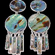 Federico Jimenez Sterling Mexican Silver Abalone Dangle Earrings
