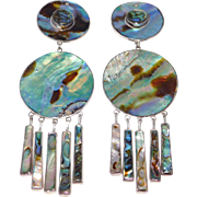 Federico Jimenez Sterling Mexican Silver Abalone Dangle Earrings