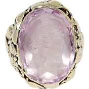14K Rare Arts And Crafts Period Amethyst Cameo Ring With Foliate Setting