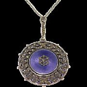 Meyle And Mayer Enamel Marcasite Art Deco Necklace Beautiful