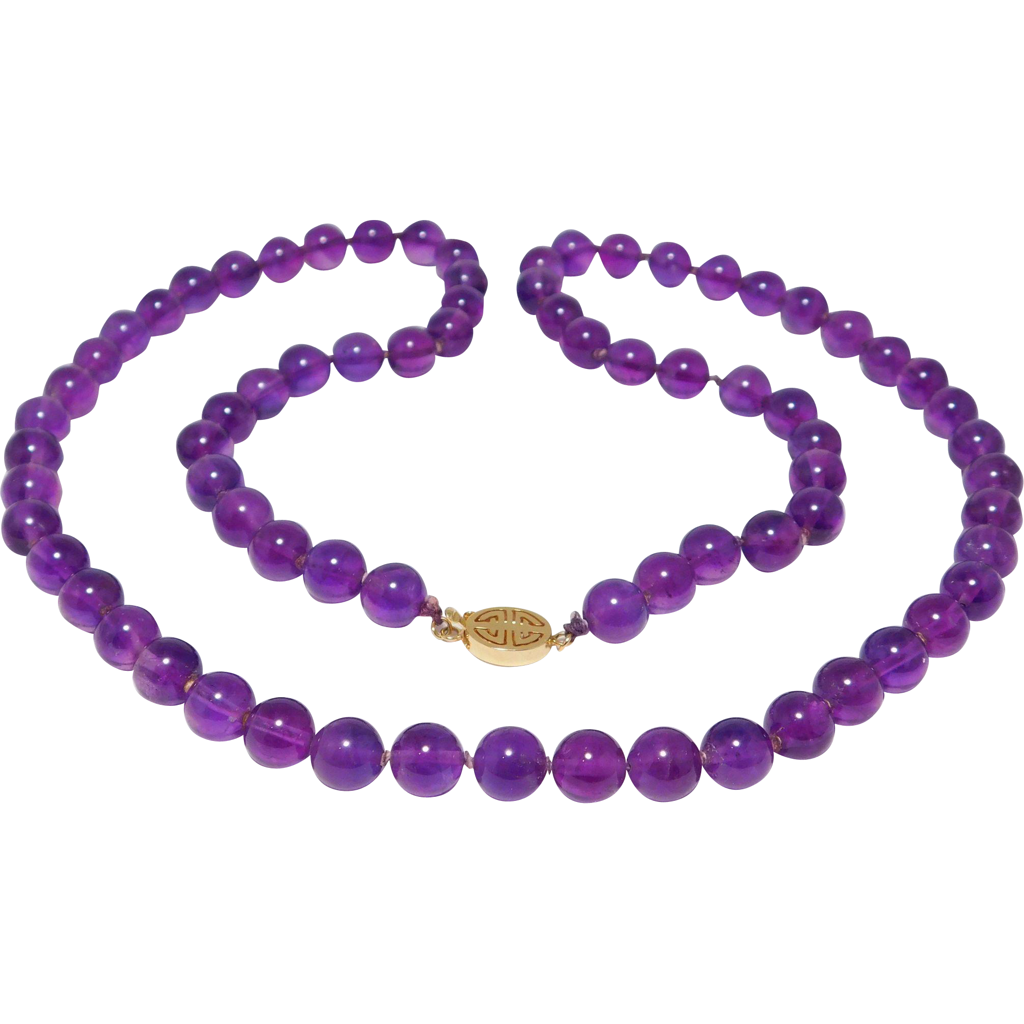 8mm Natural Amethyst Beads Necklace Knotted Fany Chinese 14K Gold Clasp