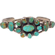 Multi Stone Turquoise Signed Southwest Cuff Bracelet Sterling Silver