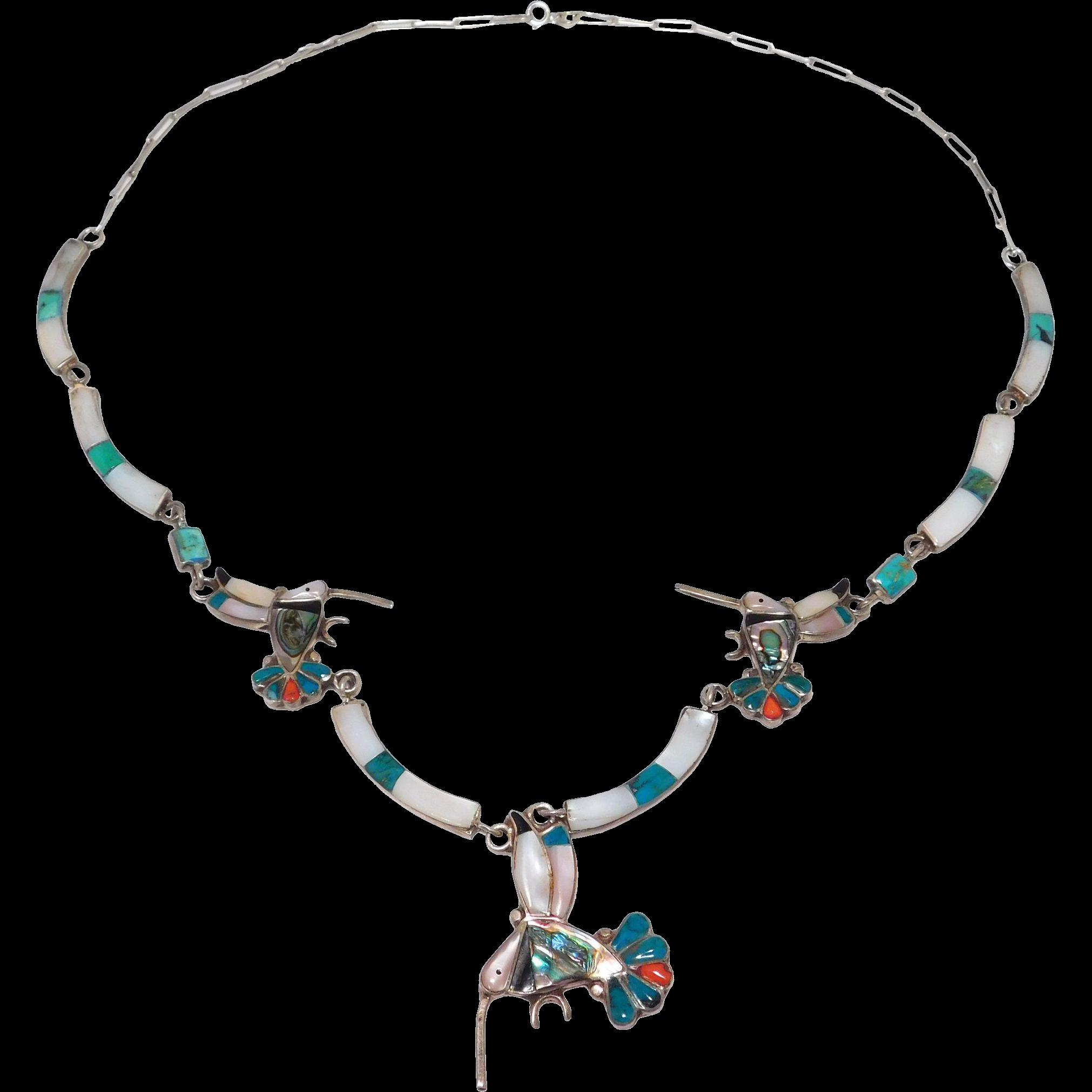 Ornate Zuni Inlay Sterling Necklace Hummingbird Design Silver