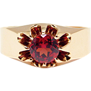 Victorian Rose Gold Gypsy Set Garnet Ring 10K