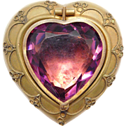 Victorian Heart Shaped Amethyst Glass Trinket Or Jewelry Box