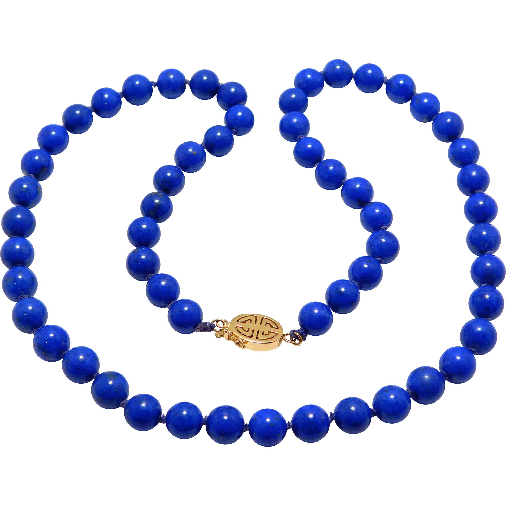 7mm Fine Lapis Beads Knotted With Fancy 14K Chinese Clasp
