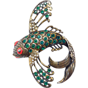 Very Rare Eisenberg Original Flying Fish Pin Sterling Enamel And Green Crystals