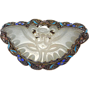 Carved Jade White Mutton Fat Butterfly Brooch Chinese Silver Cloisonne Filigree