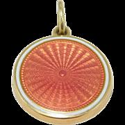 14K Guilloche Rose Enamel Art Deco Locket Mint Condition Sloan & Co. 1920