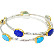 Gurhan Designer Sterling 24K Lapis & Turquoise Stacking Bangle Bracelets Elements