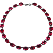 Victorian Foiled Back Ruby Paste Riviere Necklace Germany Silver