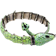 Margot De Taxco Snake Bracelet Enamel Articulated Old Mexican Silver Lime Green Color