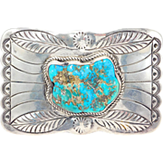 Large Sterling Navajo Turquoise Hand Stamped Belt Buckle Southwest Pawn