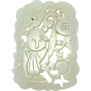 Old Carved White Jade Figural Pendant Or Amulet Chinese Carved Hetian