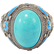 Chinese Turquoise Filigree Cloisonne Ring Ornate