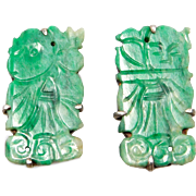 Antique Carved Jade Silver Earrings Beautiful
