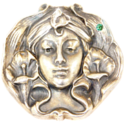 Art Nouveau Sterling Lady Brooch By William Link Rare High Relief