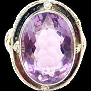 14K Antique Filigree 10 Carat Amethyst Ring Circa 1910