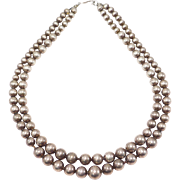 Nice Double Strand Hollow Sterling Silver Beads Necklace