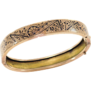 Victorian Tracery Enamel Gold Filled Bangle 1880