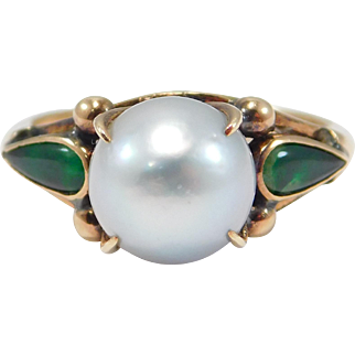 Art Deco Jade And Cultured Grey Pearl Ring 14K Pretty