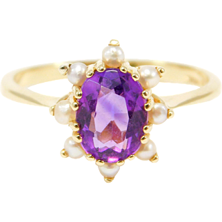 Estate Amethyst Natural Seed Pearls Ring Beautiful 14K