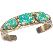 Old Pawn Heavy Silver And Turquoise Cuff Bracelet 3 Stones