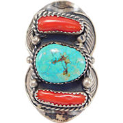 Large Turquoise And Coral Navajo Silver Ring