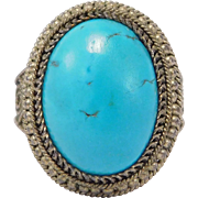 Old Chinese Silver Turquoise Ring Beautiful Stone