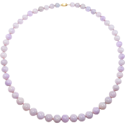 Estate Fine Natural Lavender Jade Graduated Beads Necklace 14K Clasp Large Mm