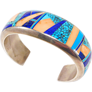 Stunning Navajo Coral Turquoise And Lapis Inlay Cuff Aaron Toadlena Sterling
