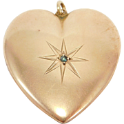Large Victorian 9ct Rose Gold Puffy Heart Charm Pendant With Diamond