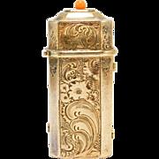Antique Austrian Vermeil Matchsafe Vesta Engraved With Coral