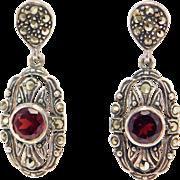 Pretty Sterling Garnet Estate Marcasite Earrings Drop