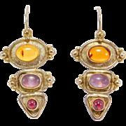 Modernist Sterling Amber Amethyst And Garnet Earrings