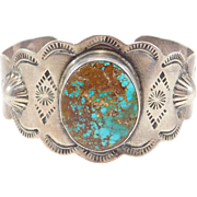 Fred Harvey Turquoise Silver Stampwork Cuff Bracelet