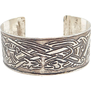 Ornate Celtic Double Dragons Silver Cuff Bracelet Artisan