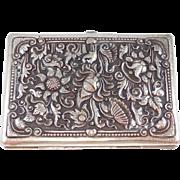 Ornate Large 800 Silver Repousse Cigarette Case