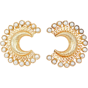 Ornate Vermeil Cultured Pearl Large Crescent Filigree Earrings
