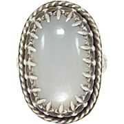 Ornate Large Silver Moonstone Ring Beautiful