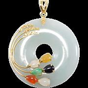 14k Jade Bi Disc Pendant Multi Color Jade 585 Necklace